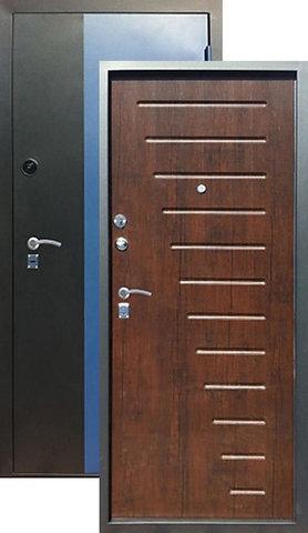 Дверь входная Алмаз Н-5, 2 замка, 1,5 мм  металл, (чёрный/синий металлик+тиковое дерево)