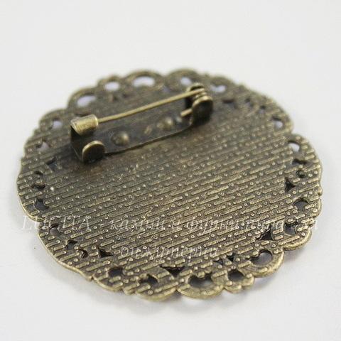 """Основа для броши """"Орнамент"""" с сеттингом для кабошона 25 мм (цвет - античная бронза)"""