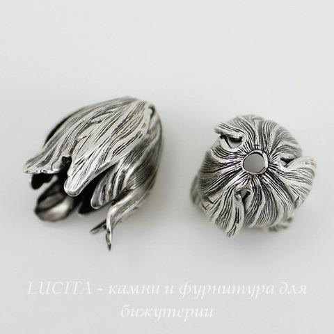 Винтажный декоративный элемент - шапочка в виде тюльпана 20х15 мм (оксид серебра) (с чернением)