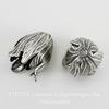 Винтажный декоративный элемент - шапочка в виде тюльпана 20х15 мм (оксид серебра)
