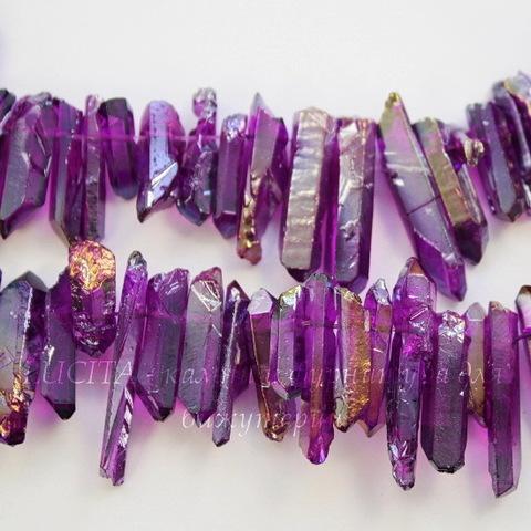 Бусина Кварц (тониров), продолговатая, цвет - фиолетовый с золотым отливом, 10-30 мм, нить
