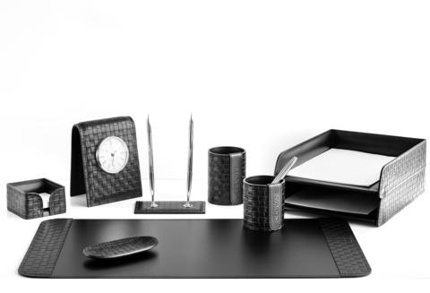 Настольный набор руководителя 9 предметов из кожи цвет Treccia/черный