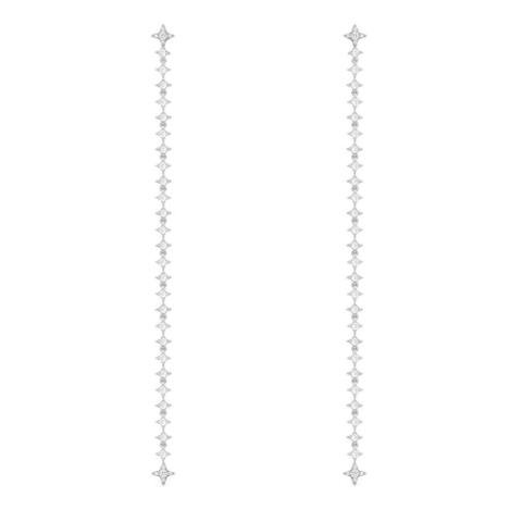 Длинные серьги-трансформеры с цирконами из серебра, в стиле APM MONACO