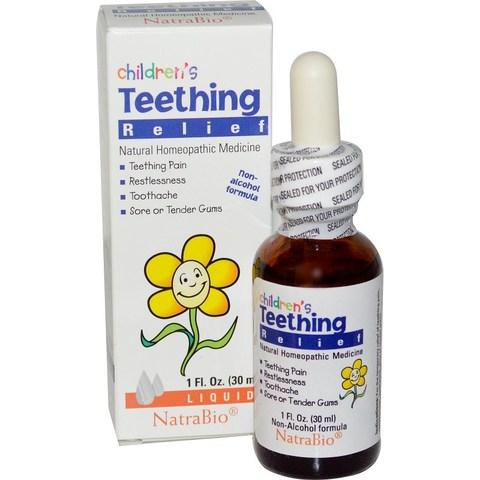 NatraBio, Жидкое средство для детей для снятия боли при прорезывании зубов, без спирта, 1 жидкая унция (30 мл)