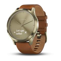 Часы Garmin Vívomove HR Premium золотые со светло-коричневым кожаным средним ремешком 010-01850-25