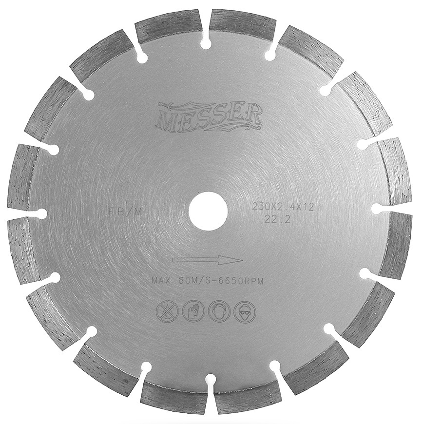 Диск алмазный сегментный MESSER FB/M по железобетону, с возможностью сухой резки, 230D-2.4T-12W-16S-22.2