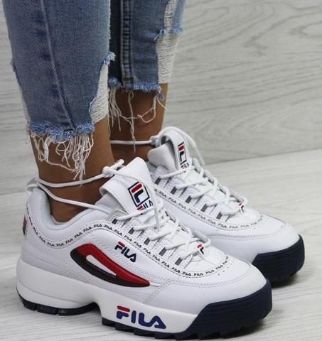 Кроссовки фила женские белые Fila Disruptor 2 RN 91175 white black/red/blue