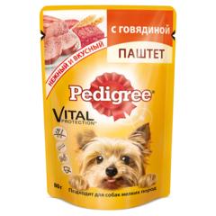 Pedigree паштет с  говядиной  для взрослых собак мелких  пород 80 гр