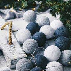 Тайские фонарики - гирлянда из хлопковых шаров