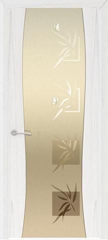 Дверь Океан Гламур Буревестник-2, стекло белое с рисунком, цвет ясень белый жемчуг, остекленная