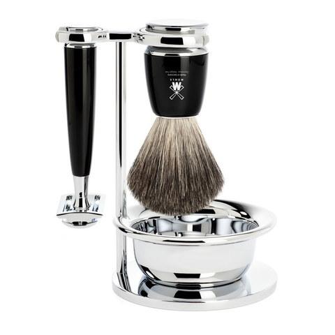 Бритвенный набор MUEHLE RYTMO, черная смола, натуральный барсучий ворс, Т-образная бритва, чаша