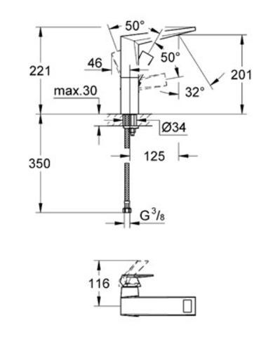 Смеситель для раковины Grohe Allure Brilliant 23112 000 схема