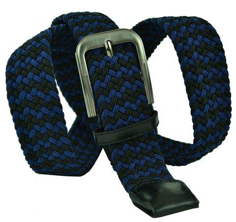 Ремень текстильный резинка мужской брючный двухцветный чёрно-синий  большого размера 35 мм 35Rezinka-B-011