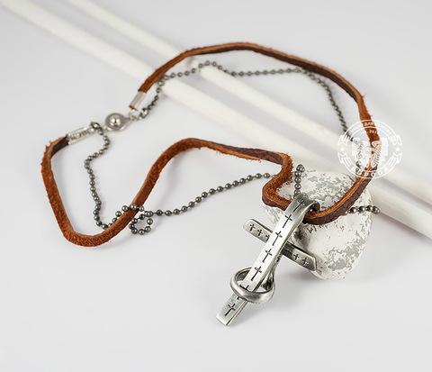 PL229 Оригинальная металлическая подвеска &#34Крест&#34 на кожаном шнурке и цепочке