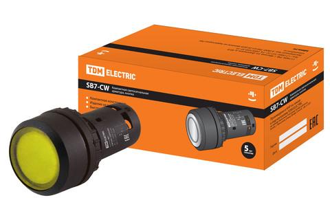 Кнопка SB7-CW3561-220V(LED) d22мм 1з, желтая TDM