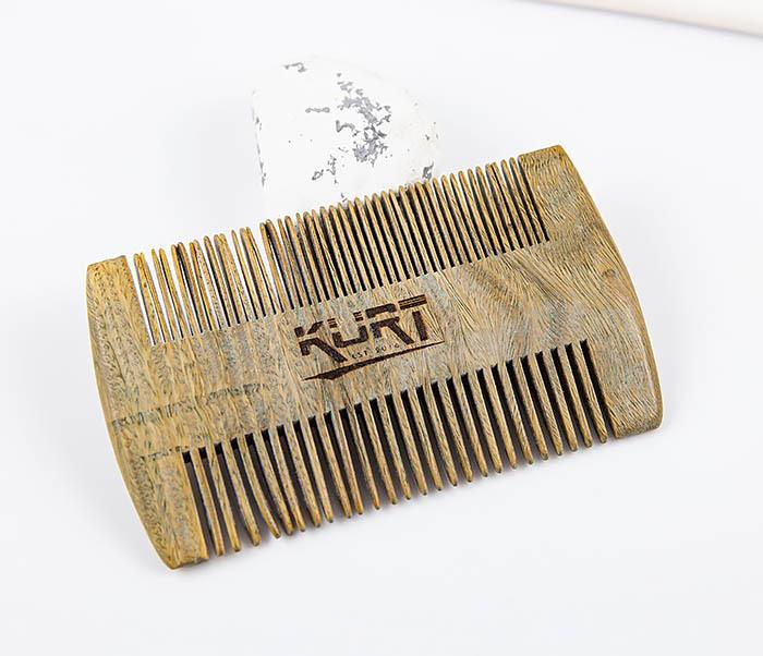 RAZ454 Деревянный двухсторонний гребень для бороды