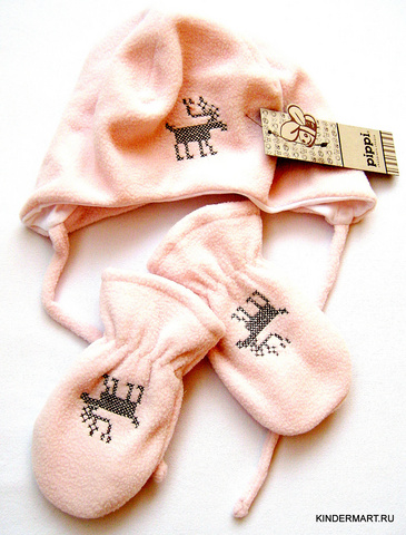 Флисовая шапочка и варежки для малышей PIPPI