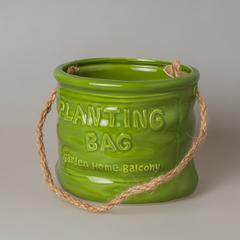 Кашпо керамическое зеленое 88986 среднее