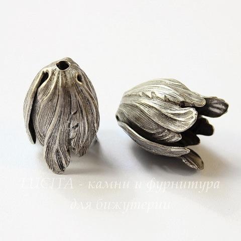 Винтажный декоративный элемент - шапочка в виде тюльпана 20х15 мм (оксид серебра) (матовые)