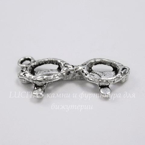 "Подвеска 3D ""Очки"" (цвет - античное серебро) 22х10 мм"