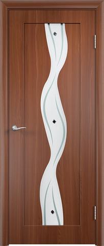 Дверь Сибирь Профиль Водопад, цвет итальянский орех, остекленная