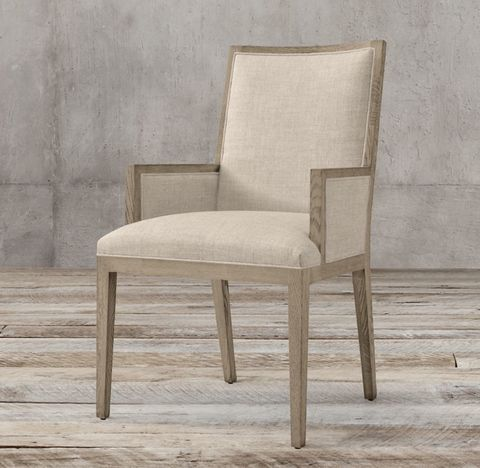 French Contemporary Square Fabric Closed Armchair