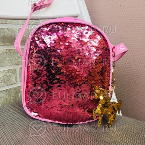 Сумочка розовая с двусторонними пайетками меняет цвет Розовый-Золотистый и брелок Единорог (19х18х5 см)