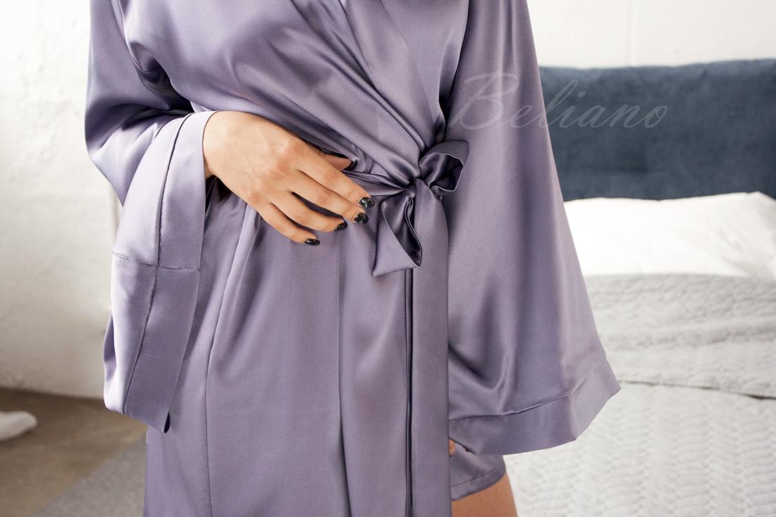 Короткий домашний  халат кимоно  женский из шелка. Цвет пепельно-лиловый