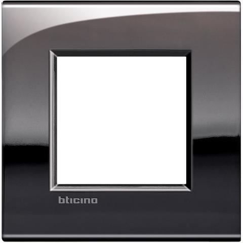 Рамка 1 пост AIR, прямоугольная форма. БЛЕСТЯЩИЙ. Цвет Олово. Итальянский стандарт, 2 модуля. Bticino LIVINGLIGHT. LNC4802PT