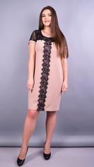 Ваниль. Комбинированное платье плюс сайз. Беж.