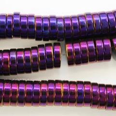 Бусина Гематит (искусств), рондель, цвет - фиолетовый с бензиновым отливом, 8х2 мм, нить