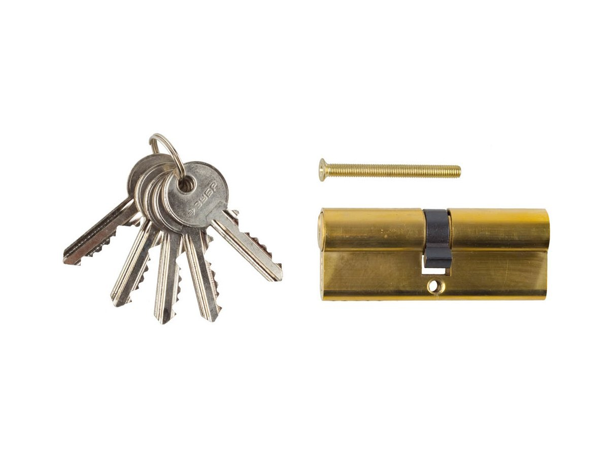 "Механизм ЗУБР ""МАСТЕР"" цилиндровый, тип ""ключ-ключ"", цвет латунь, 5-PIN, 80мм"
