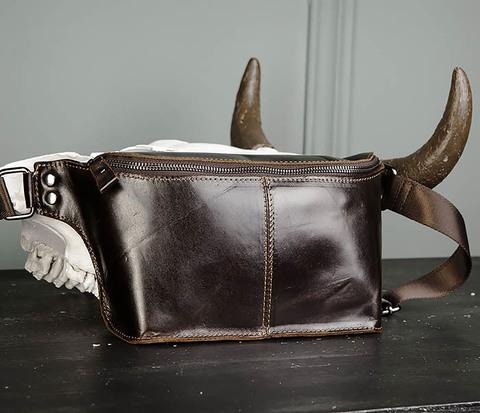 Мужская сумка на пояс из натуральной кожи