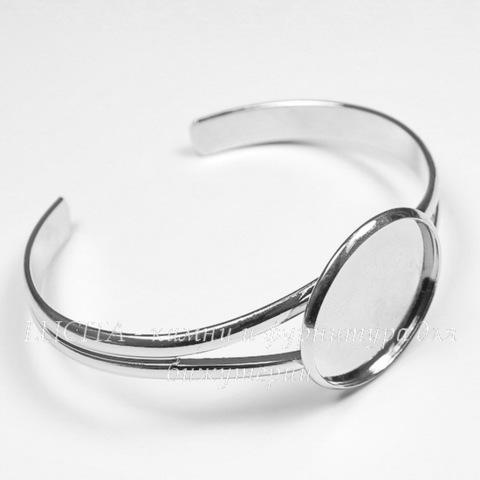 Основа для браслета с сеттингом для кабошона 25 мм, 17 см (цвет - платина)