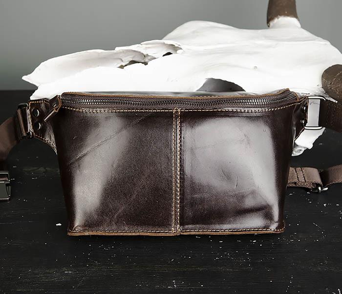BAG473-2 Мужская сумка на пояс из натуральной кожи фото 02