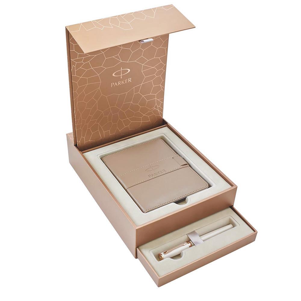 Набор подарочный Parker Ingenuity - Pearl PGT, ручка 5th пишущий узел, F + записная книжка