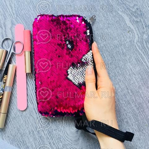 Пенал-Косметичка с пайетками меняющий цвет Розовый-Серебристый