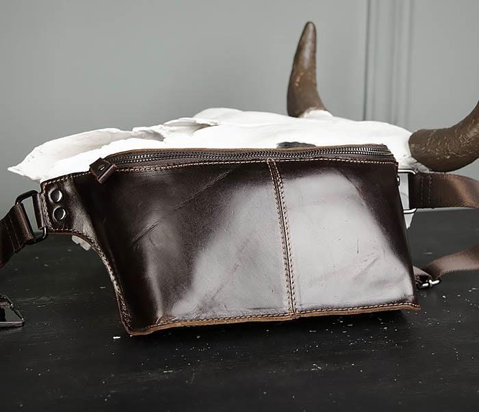 BAG473-2 Мужская сумка на пояс из натуральной кожи фото 03