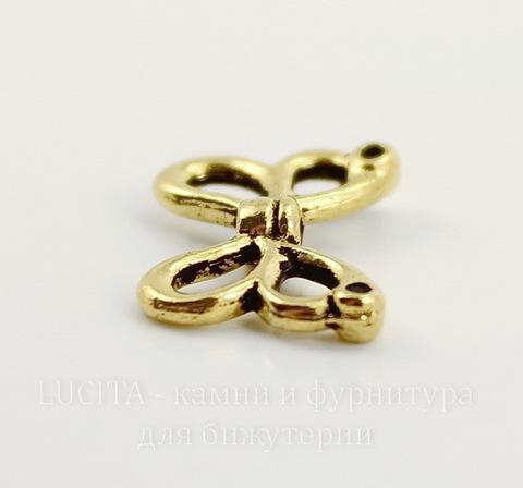 "Бусина TierraCast ""Крылья бабочки"" 15х10 мм (цвет-античное золото)"