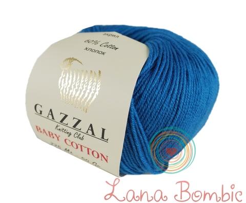 Пряжа Gazzal Baby Cotton 3428 ярко-голубой