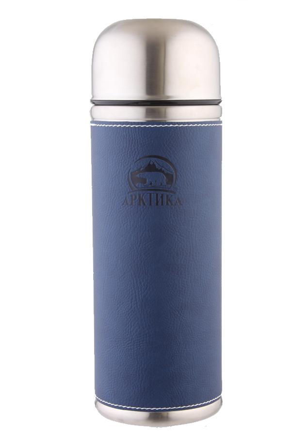 Термос Арктика (1 л.) с узким горлом, синий, кожаная вставка