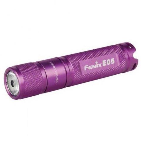 Купить Фонарь-брелок на ключи Fenix E05 фиолетовый 85 люмен (34232) по доступной цене