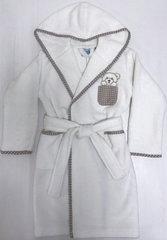 Детский  банный  махровый  халатик ТЕДДИ кремовый