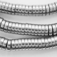 Бусина Гематит (искусств), рондель, цвет - серебро, 8х2 мм, нить