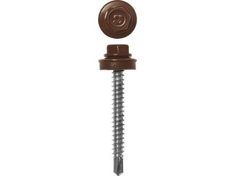 Саморезы СКД кровельные, RAL 8017 шоколадно-коричневый, 35 х 4.8 мм, 380 шт, для деревянной обрешетки, ЗУБР