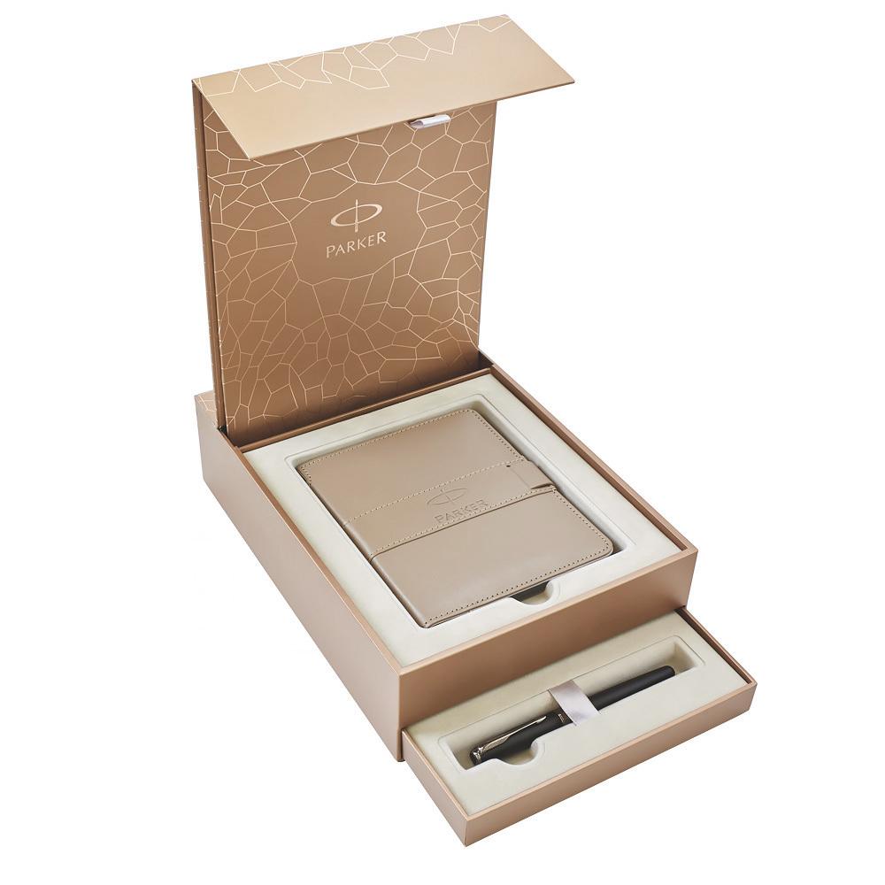 Набор подарочный Parker Sonnet - Dark Grey Laquer CT, перьевая ручка, F + записная книжка 1935167