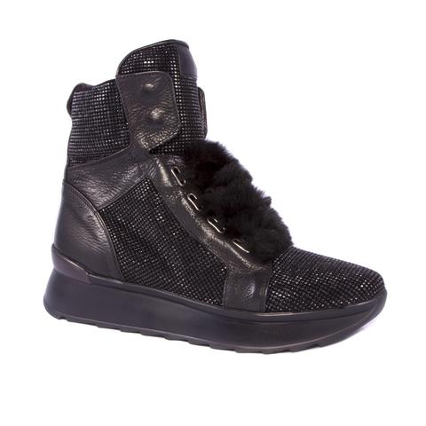 Кожаные ботинки на меху Fruit 4138 со стразами