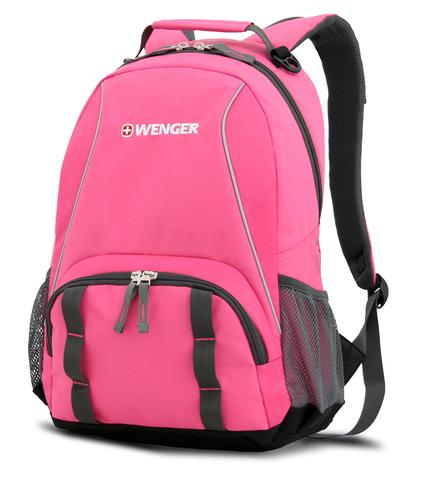 Качественный с гарантией прочный школьный рюкзак на молнии розовый с серым объёмом 20 л из полиэстра 600D с боковыми карманами для бутылок из эластичной сетки, эргономичной ручкой, системой поддержки спины Comfort Fit и дополнительным отделением с карманом для МР3-плеера и отверстием для наушников WENGER 12908415