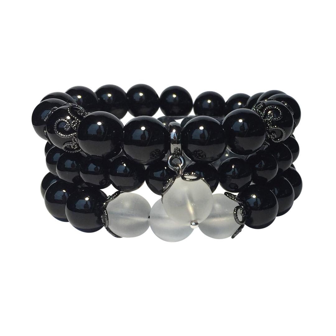 Комплект Forever Black из 3-х браслетов из натурального черного агата с вставками из матового кварца Magazin-Brasletov.ru