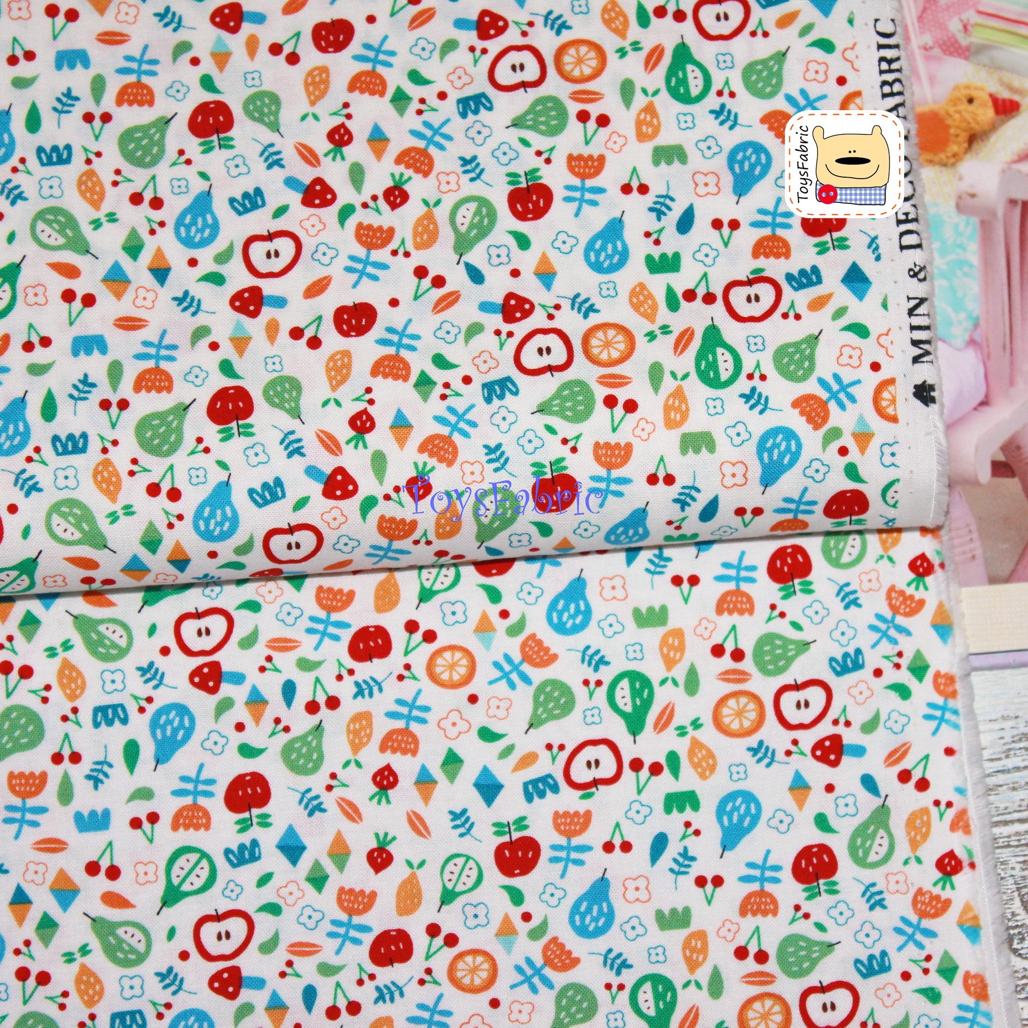 Ткань для пэчворка 20717 (мелкие фрукты на молочном) 45х55см